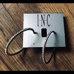 INC-NWT Crystal Silver Plated 45 mm Hoop Earrings